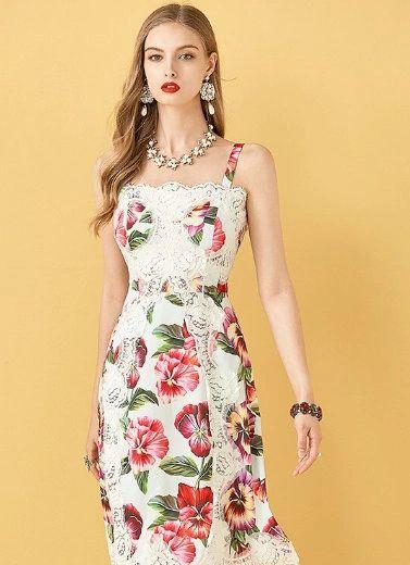 7645 Designer Inspired Runway Floral Lace Print White Midi Dress