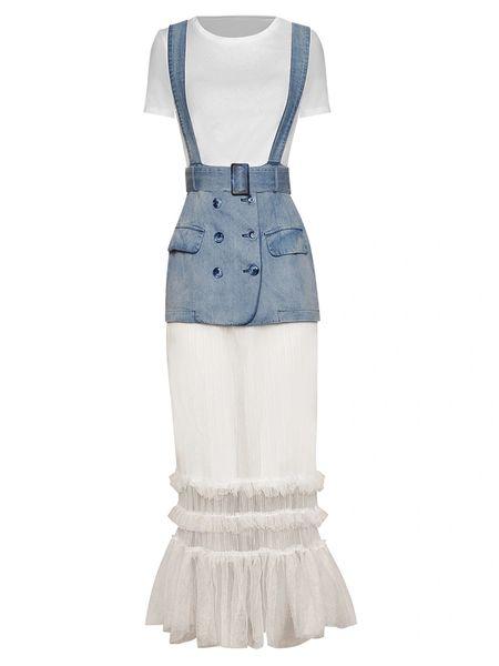 7646 Designer Inspired Runway Cotton Dress With Jean Belt