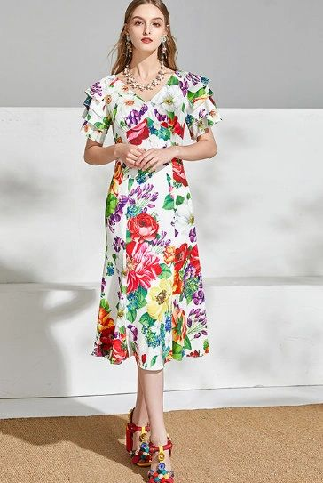 7649 Designer Inspired Runway Floral Layered Sleeve Midi White Dress