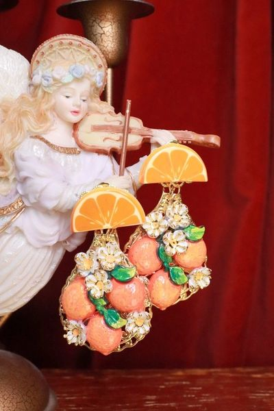 7651 Baroque Sicilian Orange Fruit Earrings
