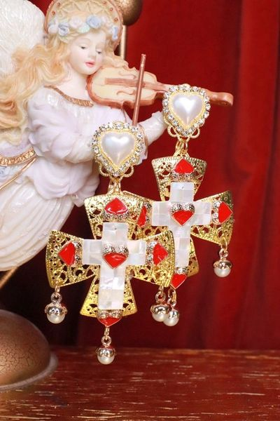 7653 Baroque Genuine Mother Of Pearls Cross Earrings