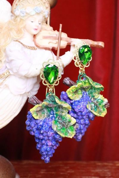 SOLD! 7654 Baroque Vivid Grapes Hand Painted Earrings