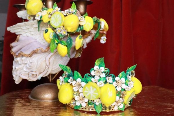 7655 Baroque Runway Sicilian Vivid Lemon Fruit Hand Painted Crown