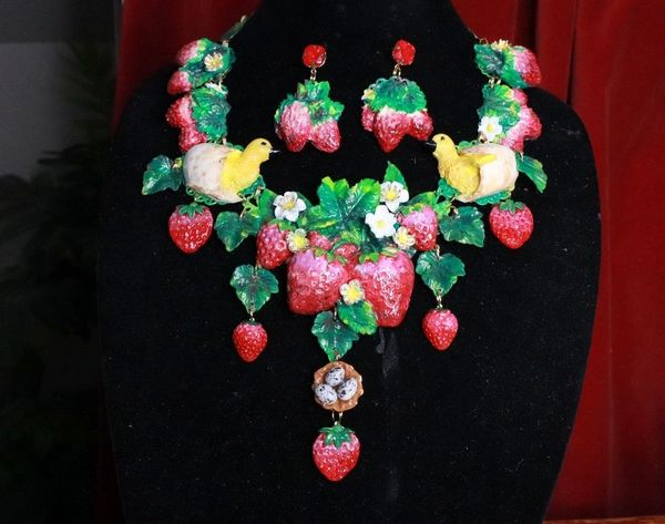 7659 Set Of Art Nouveau Hand Painted Vivid Strawberry Chicks Necklace+ Earrings