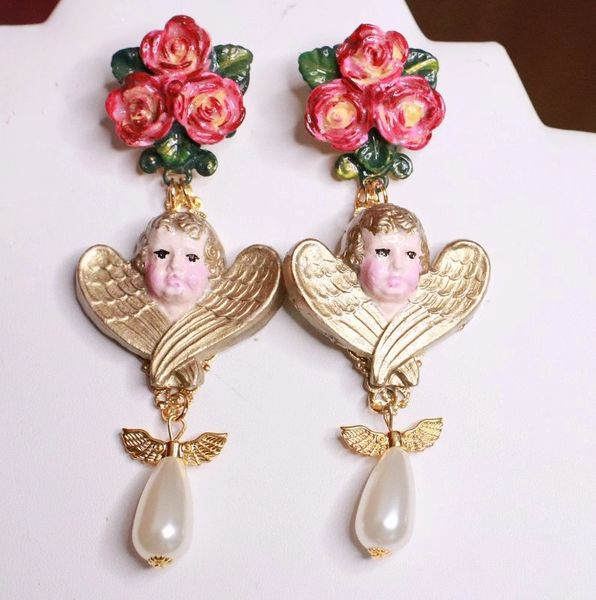 7660 Hand Painted Baroque Cherubs Roses Pearl Statement Earrings