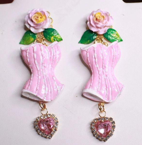 7661 Hand Painted Baroque Corset Roses Statement Earrings