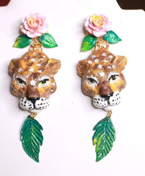 7663 Baroque Rose Hand Painted Vivid Leopard Animal Leaf Earrings