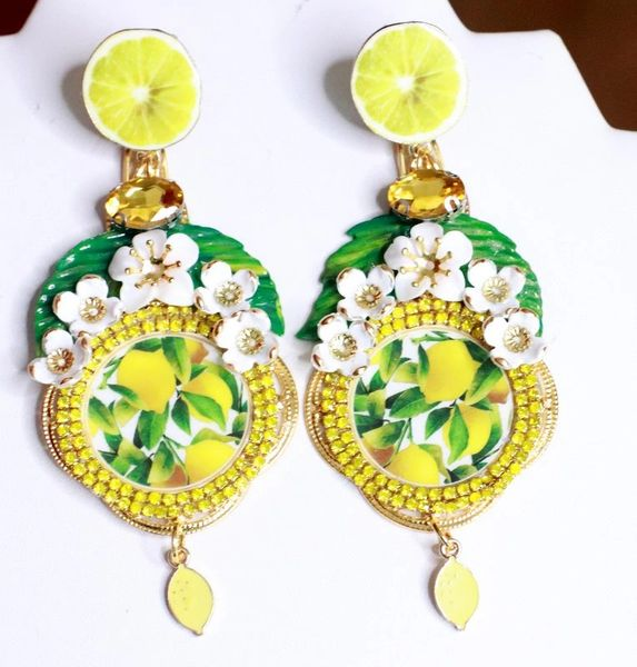 SOLD! 7665 Baroque Sicilian Lemon Cameo Print Long Earrings