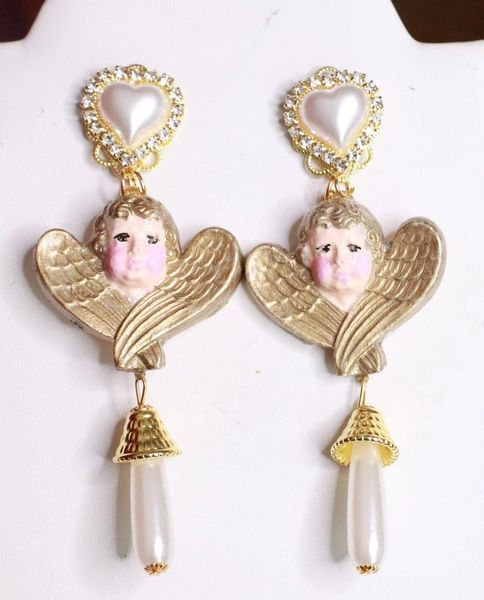 7667 Hand Painted Baroque Cherubs Pearl Statement Earrings
