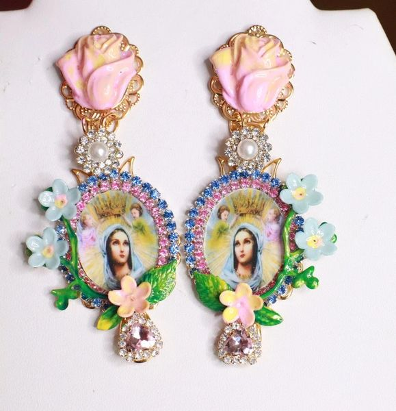 7668 Virgin Mary Madonna Pale Pink Rose Statement Earrings
