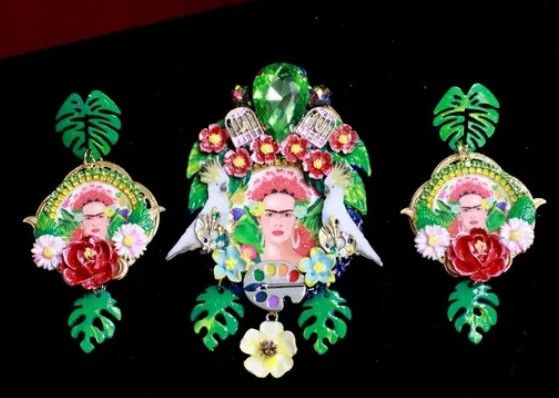 SOLD! 7671 Set Of Frida Kahlo Palette Hand Painted Birds Huge Brooch+ Earrings