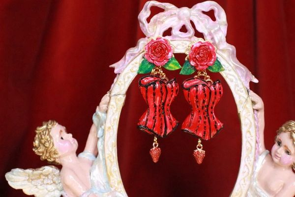 7673 Hand Painted Baroque Red Corset Roses Statement Earrings