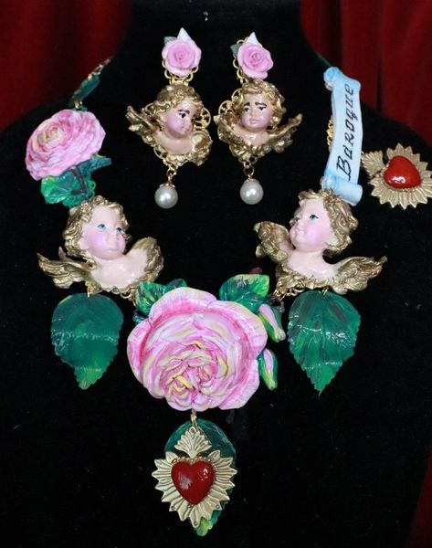 7674 Runway Banner Chubby Vivid Hand Painted Cherubs Roses Sacred Hearts Statement Necklace