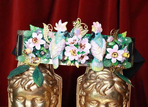 7675 Art Nouveau Hand Painted Pearlish Parrots Tropical Dona Anna Flowers Embellished Waist Gold Belt Size S, L, M