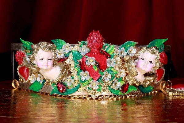 7676 Baroque Sacred Heart Angels Cherubs Flower Blossom Embellished Waist Gold Belt Size S, L, M