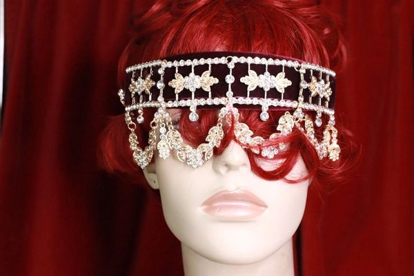 7677 Baroque Dangle Rhinestones Wine Red Elegant Headband