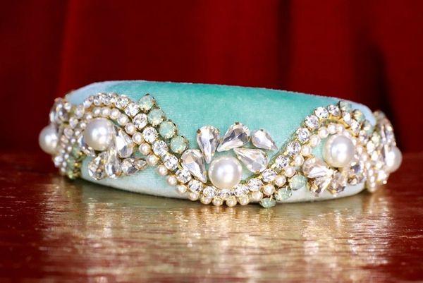 7678 Baroque Pale Aqua Pearl Rhinestones Elegant Headband