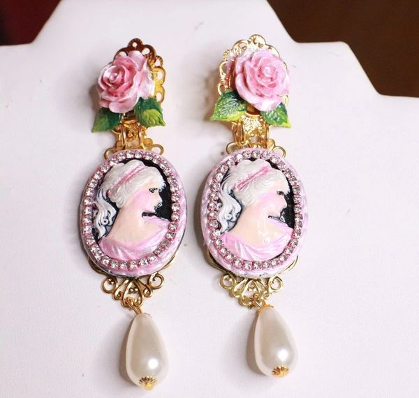 7680 Victorian Carved Cameo Hand Painted Rose Statement Earrings