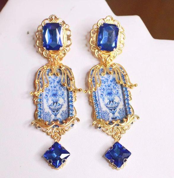 7681 Baroque Sicilian Tile Blue Vase Long Earrings