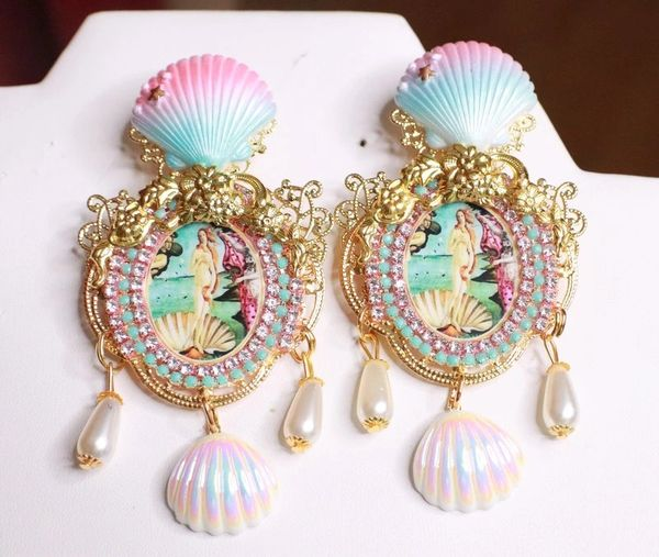7685 Birth Of Venus Tall Shell Octopus Victorian Cameo Earrings Studs