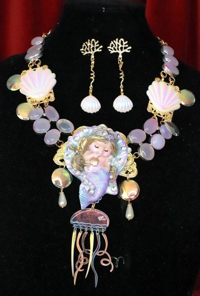 7692 Set Of Nautical Sleeping Mermaid Genuine Chalcedony Gemstones Necklace+ Earrings