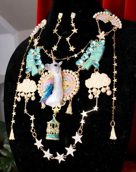 7693 Set Of Art Jewelry 3D Effect Unicorn Genuine Turquoise Necklace+ Earrings