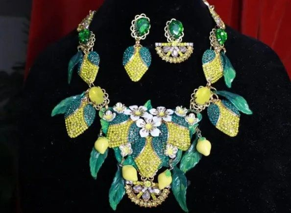 7689 Set Of Baroque Rhinestone Sicilian Lemon Fruit Necklace+ Earrings