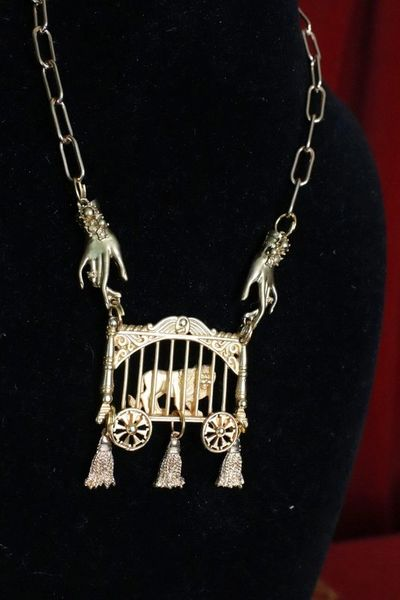 SOLD! 7696 Elegant Gold Tone Lion In a Cage Hands Tassel Choker Necklace
