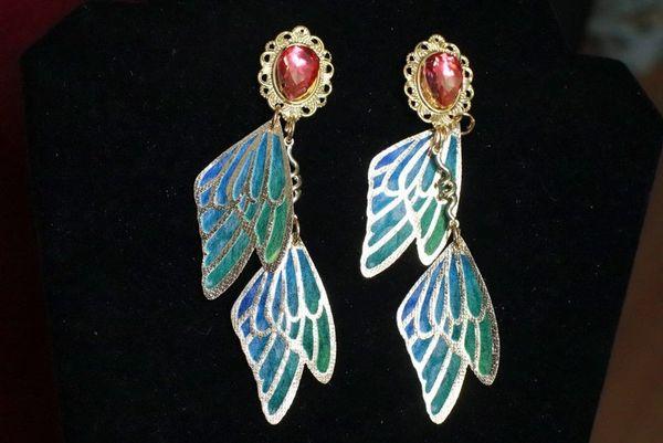 7699 Art Nouveau Butterfly Wings Long Earrings Studs