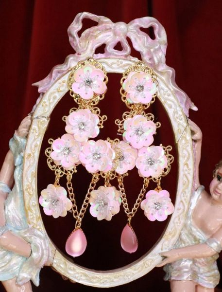 7700 Art Nouveau Sacura Japanese Long Earrings Studs