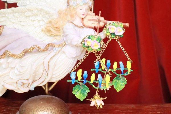 7703 Art Nouveau Hand Painted Birds Roses Dangle Earrings