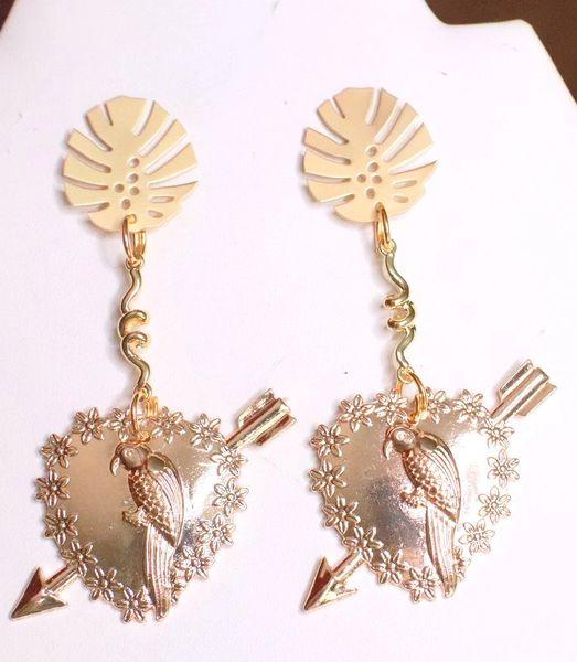 7707 Baroque Gold Tone Metal Parrot Heart Dangle Earrings