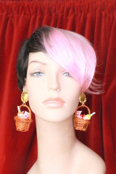 SOLD! 7708 Baroque Lightweight Picnic Basket Dangle Earrings