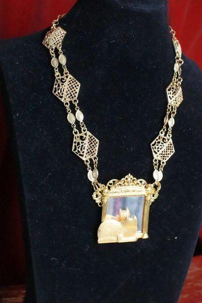 SOLD! 7709 Baroque Cat In a Mirror Elegant Necklace