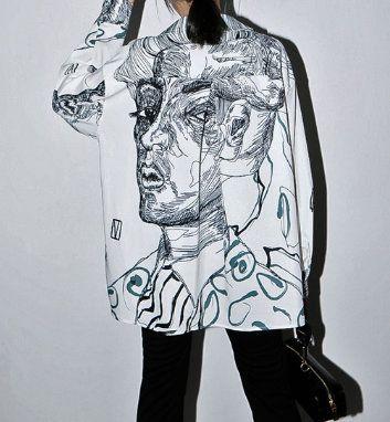7712 Runway 2020 Grunge Style Over-sized White Shirt
