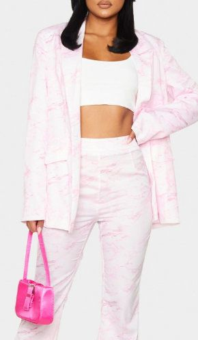 7715 Runway 2020 Oversized Over-szied Pale Pink Marble Blazer