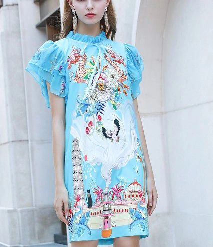 7716 Designer Inspired Runway Novelty Print Light Blue Mini Dress