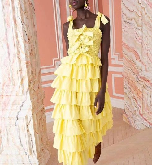 7717 4 Colors Designer Inspired Runway Layered Bows Midi Dress