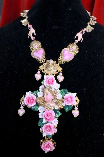 SOLD! 7722 Baroque Vivid Chubby Cherub Roses Pink Sacred Hearts Cross Pendant