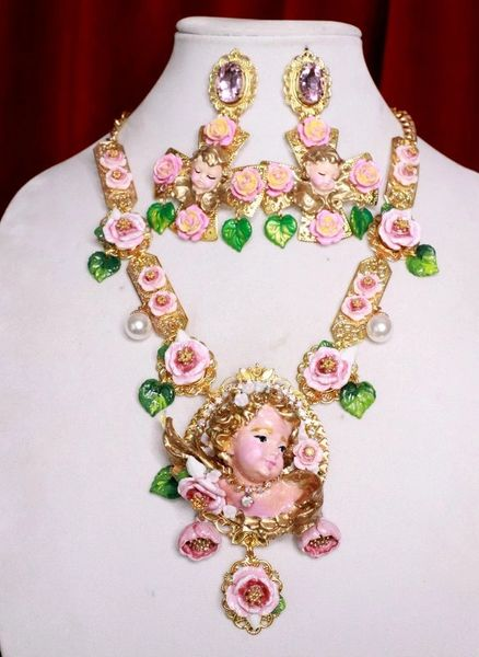 7723 Baroque Vivid Chubby Cherub Roses Pink Large Pendant Necklace