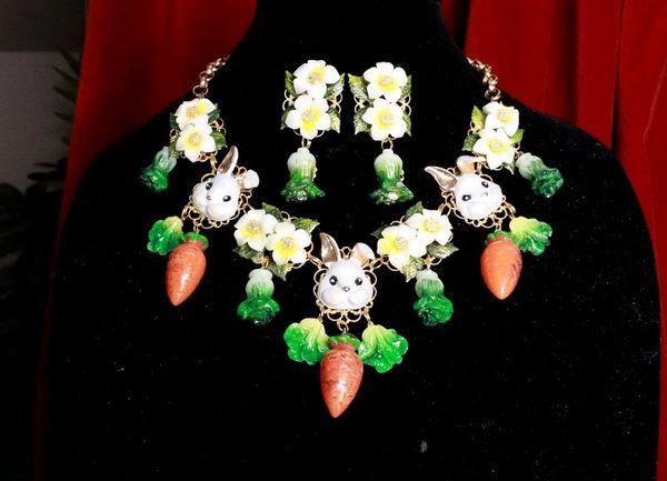 7724 Set Of Art Nouveau Enamel Bunnies Rabbits Carrot Necklace+ Earrings