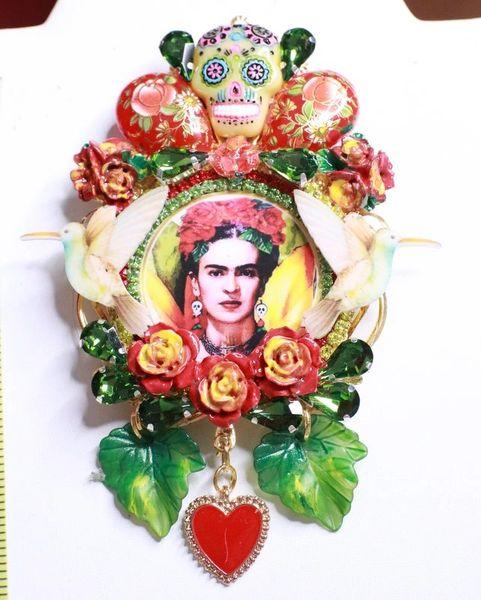 SOLD! 7727 Frida Kahlo Palette Hand Painted Birds Sacred Heart Huge Brooch