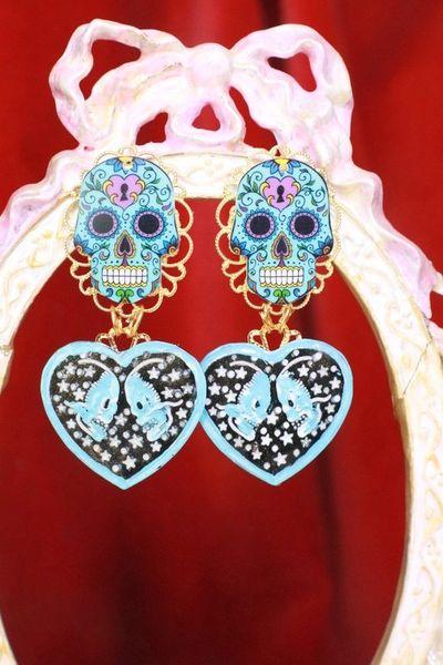 SOLD! 7730 Goth Blue Scull Enamel Earrings