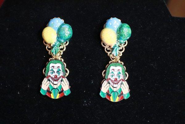 SOLD! 7733 Joker Enamel Earrings