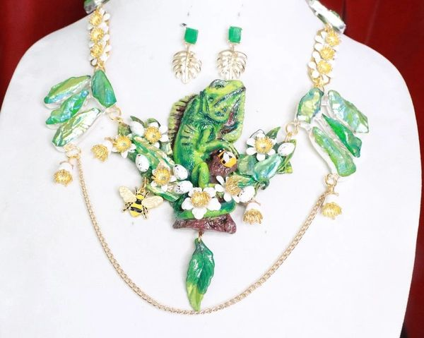 SOLD! 7737 Set Of Genuine Druzy Hand Painted Vivid Iguana Necklace+ Earrings