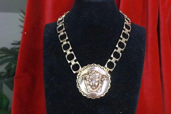 7740 Baroque Gold Tone Metal Head Necklace