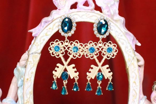 7741 Baroque Double Key Gold Tone Earrings Studs