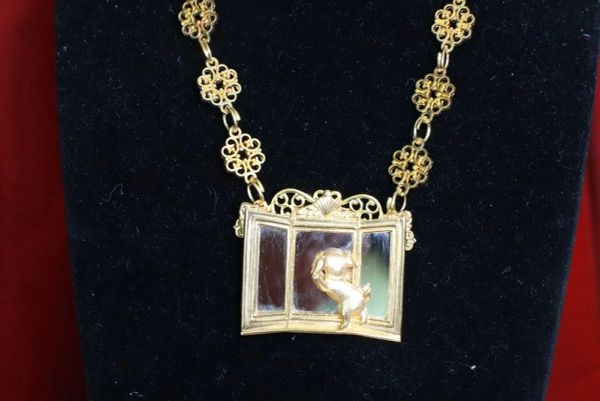 SOLD! 7742 Baroque Gold Tone Metal Puppy In A Mirror Necklace