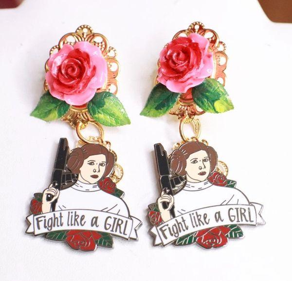 SOLD! 7746 Enamel Fight Like A Girl Earrings Studs