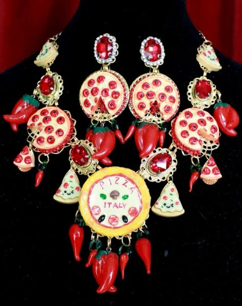 7747 Set Of Sicilian Pizza Rose Baroque Crystal Flower Necklace+ Earrings